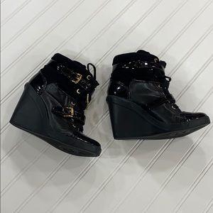 Michael Kors Black Skid Wedge Sneakers - sz 7